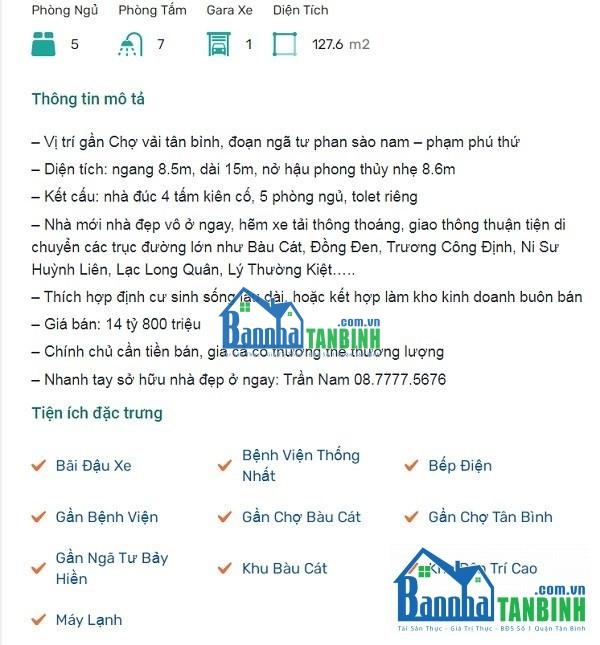 Mẫu tin đăng bán nhà 1
