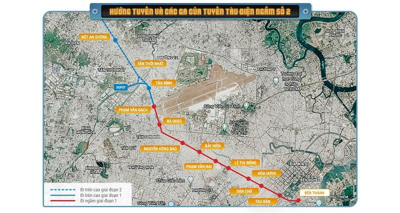 Thông tin về hướng tuyến và ga của Metro số 2