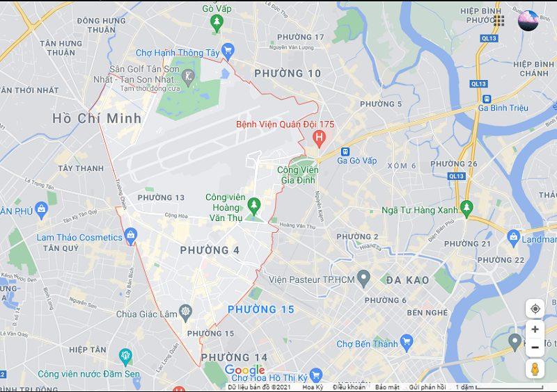 Quận Tân Bình trên bản đồ TPHCM