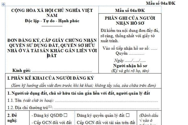 Mẫu số 04a/ĐK theo quy định của Nhà nước